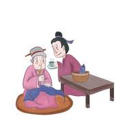 手绘中国风校园文化孝顺插画元素