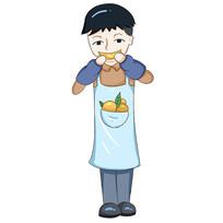 原创手绘卡通帅气男孩吃脐橙水果插画