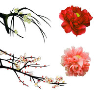 原创手绘梅花桃花牡丹花装饰元素2
