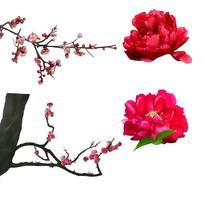 原创手绘梅花桃花牡丹花装饰元素4