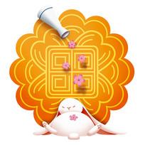 原创元素手绘月饼玉兔