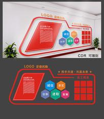 红色携手共建企业文化墙设计