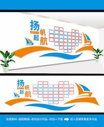 简约大气扬帆起航企业文化墙设计