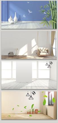 简约清新房间场景地板海报背景素材