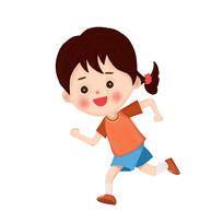卡通女孩跑步原创插画