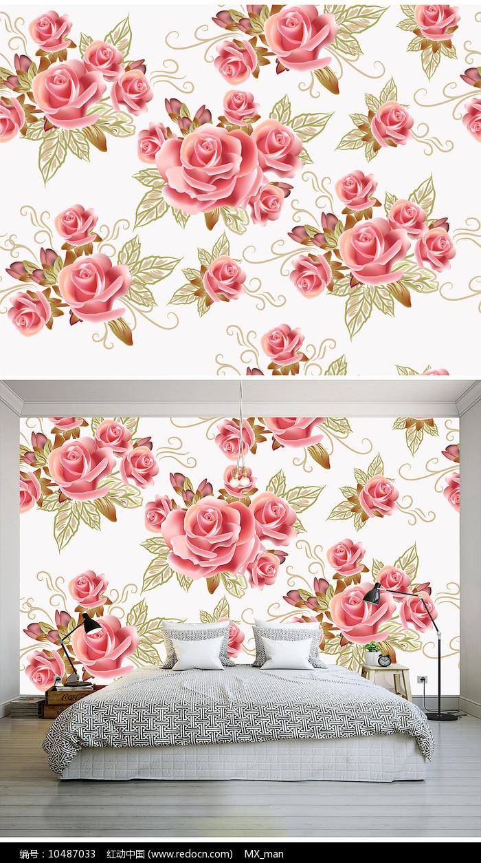 浪漫粉色玫瑰花矢量卧室背景墙图片