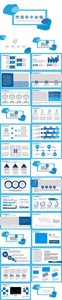 蓝色市场年中总结PPT模板