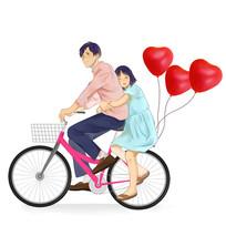 手绘单车爱心浪漫情侣七夕情人插画元素