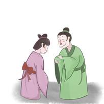 手绘中国风校园文化礼貌插画元素