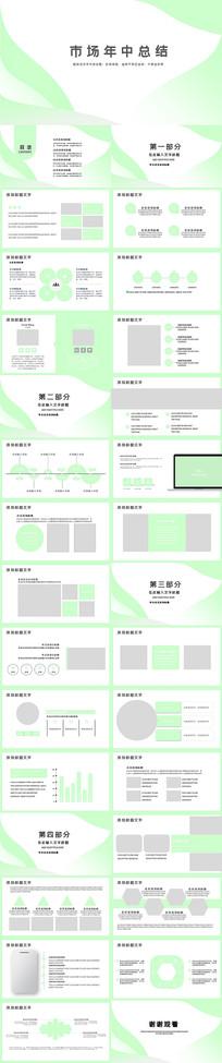 绿色清爽市场年中总结PPT模板