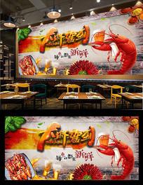 麻辣香辣虾背景墙