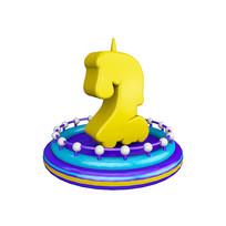 生日蜡烛周年庆倒计时数字2