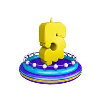 生日蜡烛周年庆倒计时数字5