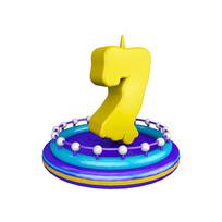 生日蜡烛周年庆倒计时数字7