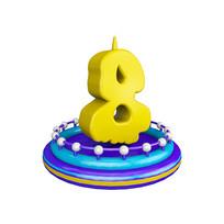 生日蜡烛周年庆倒计时数字8