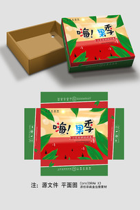 西瓜水果包裝盒設計