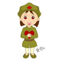 卡通手绘女兵