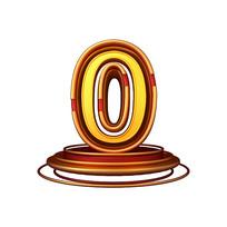 红金质感立体炫酷周年庆倒计时数字0