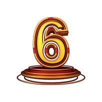 红金质感立体炫酷周年庆倒计时数字6