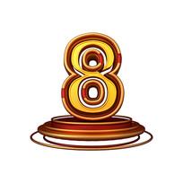 红金质感立体炫酷周年庆倒计时数字8