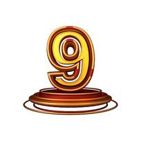 红金质感立体炫酷周年庆倒计时数字9