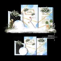 白蓝色大理石纹婚礼效果图设计水彩婚庆