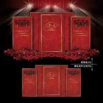红金色大理石纹婚礼效果图设计婚庆舞台