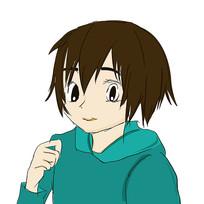 手绘穿绿衣服的卡通男孩