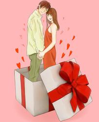 手绘礼盒爱心浪漫情侣七夕情人插画元素