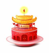 为祖国母亲庆生创意蛋糕插画