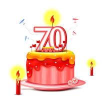 原创70周年庆祝蛋糕插画