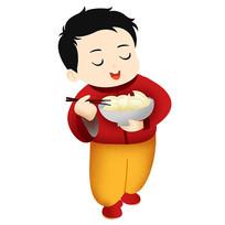 原创元素吃饺子孩子
