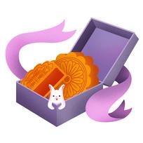 原创元素紫色浪漫月饼