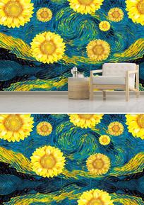 简约欧式风格向日葵油画背景墙