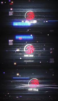 科技酷炫故障logo片头标志pr模板
