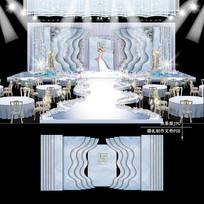 蓝灰色大理石纹婚礼效果图设计婚庆背景布置