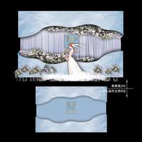 蓝色大理石纹婚礼迎宾区冰蓝色婚庆背景