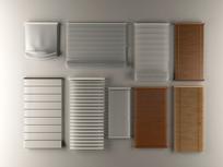 现代竹帘百叶窗窗帘组合3D模型