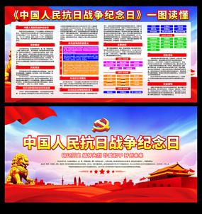 中国人民抗日战争胜利纪念日宣传展板 PSD
