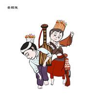手绘卡通56个民族景颇族插画元素