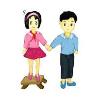 手绘卡通互相关心的男孩女孩校园文化插画