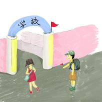 手绘卡通开心上学的男孩女孩校园文化插画