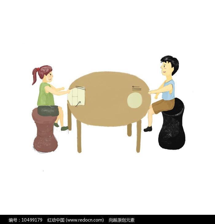 手绘卡通勤俭节约的男孩女孩校园文化插画