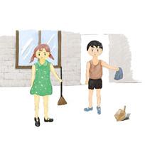 手绘卡通热爱劳动的男孩女孩校园文化插画