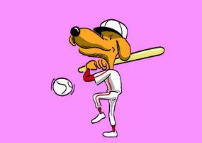 AI矢量卡通狗-棒球