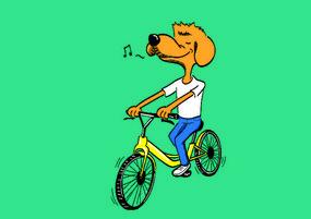 AI矢量卡通狗-骑共享单车