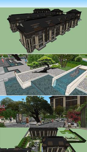 SU别墅区景观模型