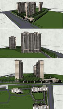 SU住宅区建筑模型