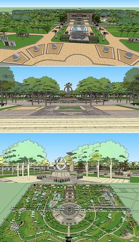 大型公园广场SU模型
