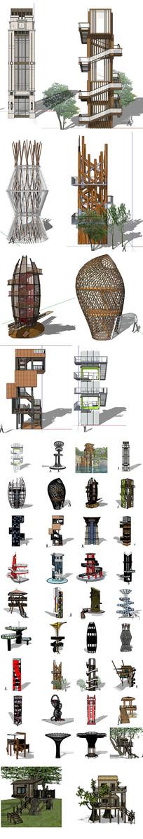 景观塔建筑模型